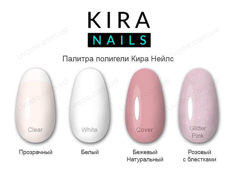 KIRA NAILS Acryl Gel Glitter Pink (30 мл.) Акрил-гель (Полигель) розовый с шиммером Кира Нейлс